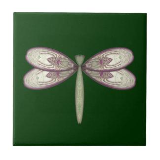 Rosy Nouveau Dragonfly Tile