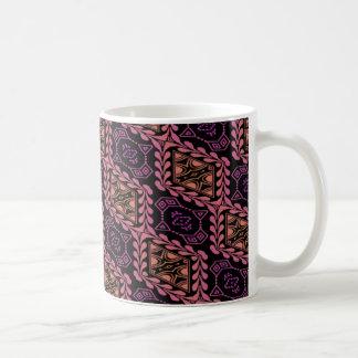 rosy ornate tiled pattern classic white coffee mug