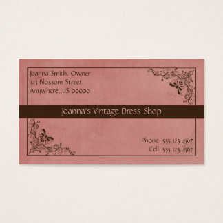 Rosy Peach and Brown Vintage Swirl Business Card