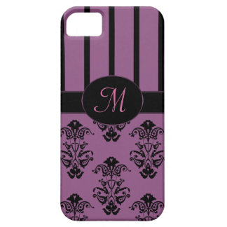 Rosy Pink & Black Baroque Stripes Monogram Case For The iPhone 5