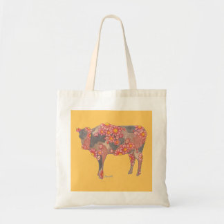 Rosy Red Cow Tote Canvas Bag