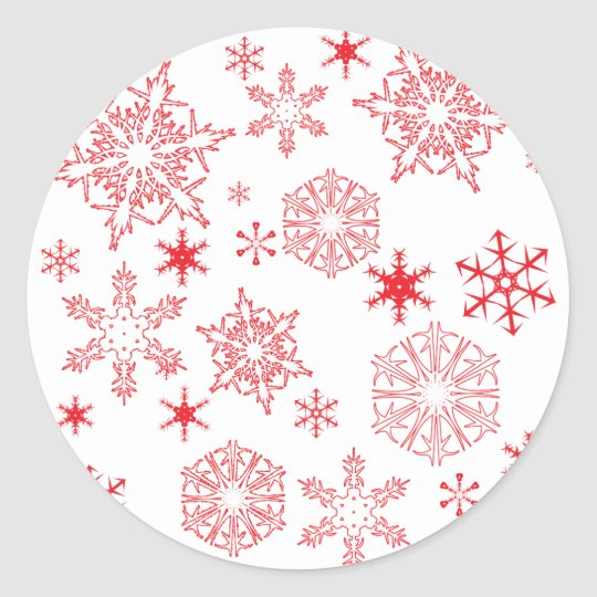 Rosy Snowflakes Classic Round Sticker