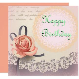 Rosy Vintage Birthday Card 13 Cm X 13 Cm Square Invitation Card