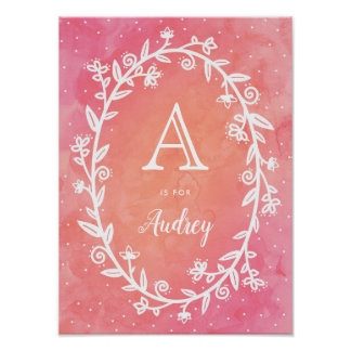 Rosy Watercolor & Floral Frame - Name & Initial Poster