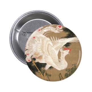 Rōsyō hakuhō-zu by Ito Jakuchu 6 Cm Round Badge