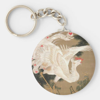 Rōsyō hakuhō-zu by Ito Jakuchu Basic Round Button Key Ring