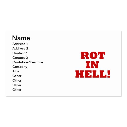Rot In Hell Business Cards