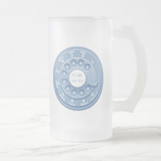 Rotary Faux -blu Frosted Glass Mug