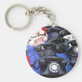 Rotary Telephone Basic Round Button Key Ring