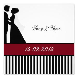 Rote Hochzeits-Paar-Hochzeits-Einladung