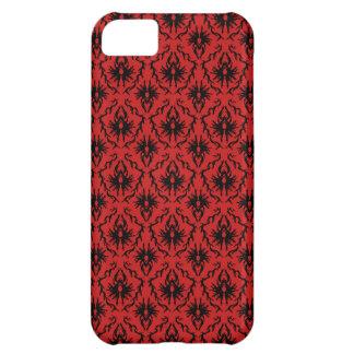 Roter und schwarzer Damast-Entwurf iPhone 5C Case