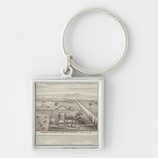 Roth, Scruggs ranches Silver-Colored Square Key Ring