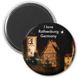 Rothenburg Germany in Moonlight 6 Cm Round Magnet