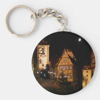 Rothenburg Germany in Moonlight Basic Round Button Key Ring