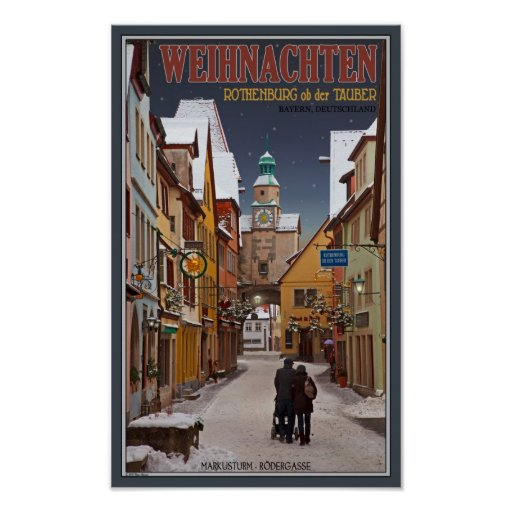 Rothenburg - Markusturm Christmas Poster