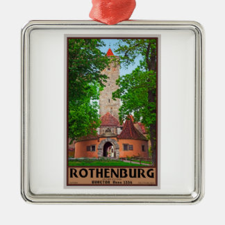 Rothenburg od Tauber - Burgtor Silver-Colored Square Decoration