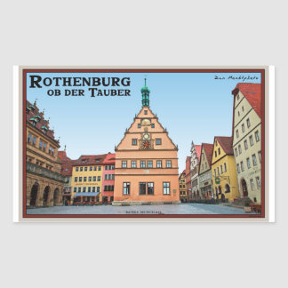 Rothenburg od Tauber - der Marktplatz Rectangular Sticker