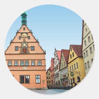 Rothenburg od Tauber - der Marktplatz Round Stickers