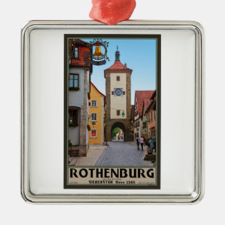 Rothenburg od Tauber - Sieberstor Silver-Colored Square Decoration