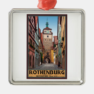 Rothenburg od Tauber - Weisserturm Silver-Colored Square Decoration