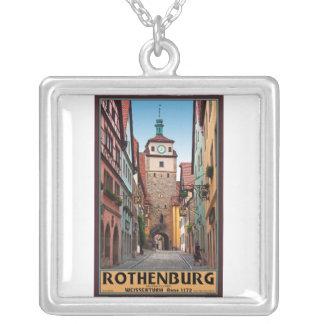 Rothenburg od Tauber - Weisserturm Square Pendant Necklace