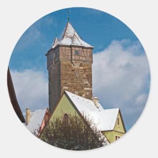 Rothenburg od Tauber - Winter Scene Round Stickers