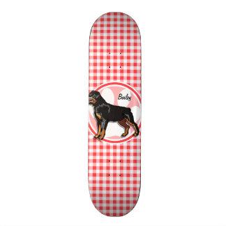 Rott; Red and White Gingham Custom Skateboard