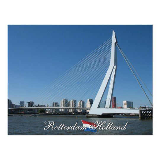 Rotterdam Skyline and Bridge Holland Postcard