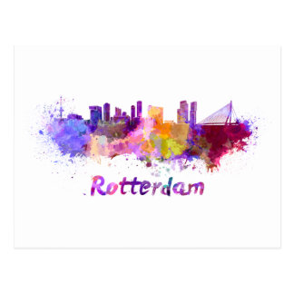 Rotterdam skyline in watercolor postcard