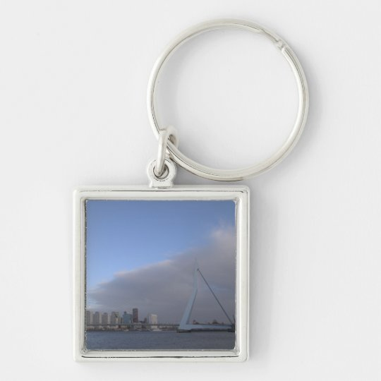 Rotterdam skyline Silver-Colored square key ring