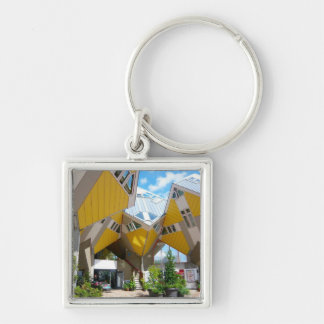 Rotterdam, the Cube Silver-Colored Square Key Ring