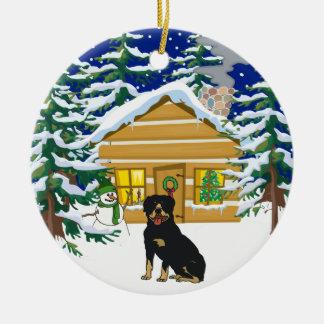 Rottie Christmas Log Cabin Christmas Ornament