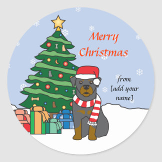 Rottweiler and Christmas Tree Classic Round Sticker