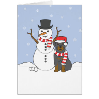 Rottweiler and Snowman Card