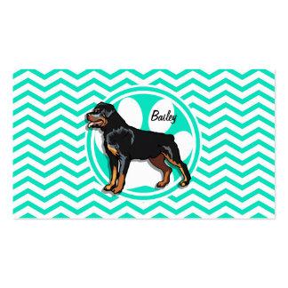 Rottweiler Aqua Green Chevron Business Card