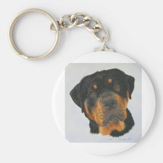 Rottweiler Basic Round Button Key Ring