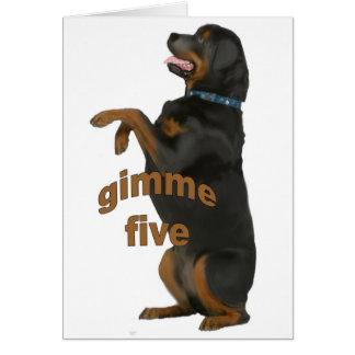 rottweiler_begging greeting card