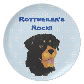 Rottweiler - Blue w/ White Diamond Design Plate