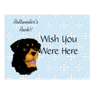 Rottweiler - Blue w/ White Diamond Design Postcard