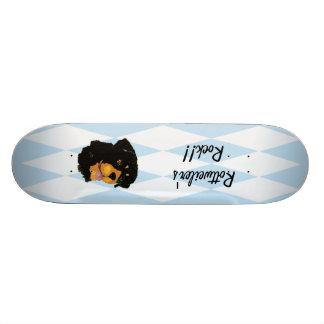 Rottweiler - Blue w/ White Diamond Design Skate Board