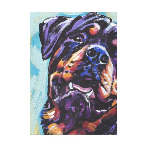 Rottweiler Bright Colorful Pop Dog Art Stretched Canvas Print