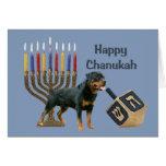 Rottweiler Chanukah Card Menorah Dreidel