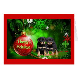 Rottweiler Christmas Card Happy Holidays Ball