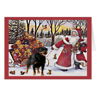 Rottweiler Christmas Card Santa Bears In Sleigh