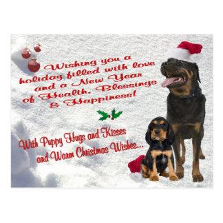 Rottweiler Christmas Snow Scene Postcard