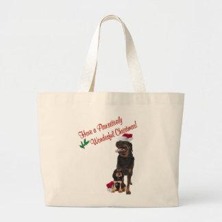 Rottweiler Christmas Wishes Jumbo Tote Bag