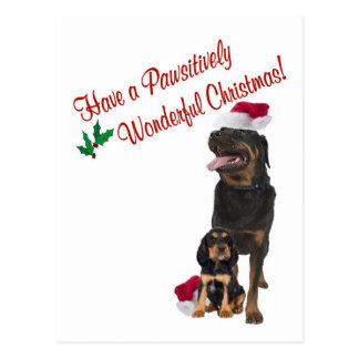 Rottweiler Christmas Wishes Postcard