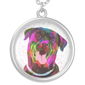 Rottweiler Colorful Pop Art Silver Plated Necklace
