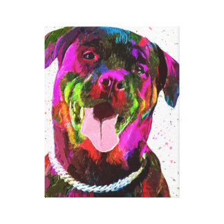 Rottweiler Colorful Pop Art Stretched Canvas Print