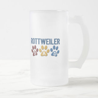 ROTTWEILER Dad Paw Print 1 Frosted Glass Mug
